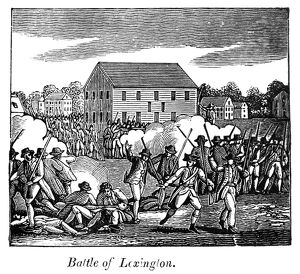 BATTLE OF LEXINGTON, 1775. Battle of Lexington, Massachusetts, during the American