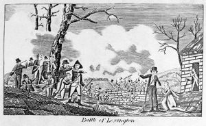 The Battle of Lexington, Massachusetts, 19 April 1775. Wood engraving, c1820s, inspired by Cornelius Tiebout