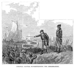 BATTLE OF LONG ISLAND, 1776. Colonel John Glover of the Marblehead militia superintending