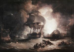 BATTLE OF THE NILE, 1798. 'The Destruction of 'L'Orient' at the