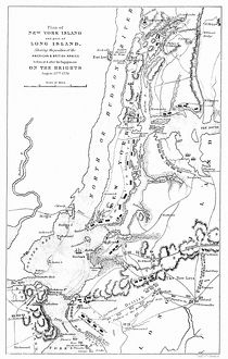 Battlefield plan of New York and Long Island during the American Revolutionary War, c1776.