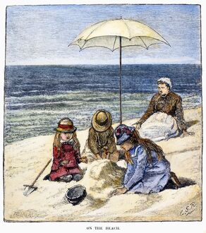 BEACH SCENE, 1879. 'On the Beach.' Wood engraving, 1879, after Charles Stanley