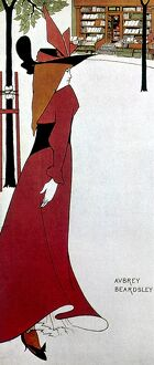 BEARDSLEY: POSTER DESIGN. A fashionably dressed young woman approaching a book store