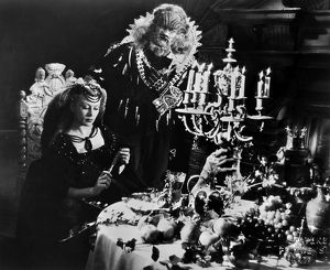BEAUTY AND THE BEAST, 1946. Josette Day as Beauty and Jean Marais as the Beast in