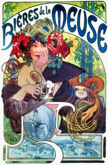 BEER AD BY MUCHA, c1897. French lithograph advertising poster, c1897, by Alphonse
