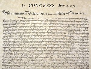 Detail of the beginning of the Declaration of Independence, 4 July 1776.