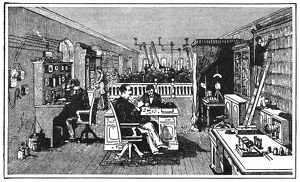 BELL LABORATORY, 1884. The Bell Telephone Laboratory. Engraving, 1884