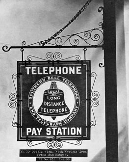 technology/bell telephone sign c1899 bell pay phone sign