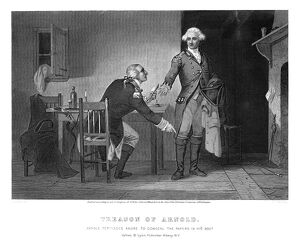Benedict Arnold persuading Major John Andre to conceal the plans of West Point in