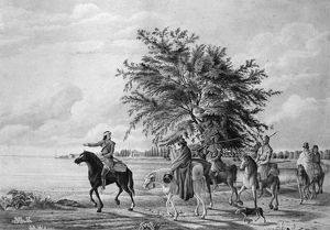 BERCZY: HURON HUNTERS. Huron Native Americans leaving their residence near Amherstberg