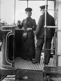BERLIN: CONDUCTOR, c1910. A female train conductor in Berlin, Germany. Photograph