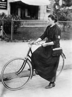 BERLIN: MESSENGER, c1910. A female telegraph messenger in Berlin, Germany. Photograph