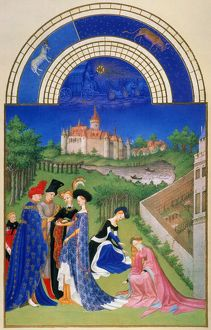 A betrothed couple exchanging rings in April: illumination from the 15th century