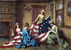 Betsy Ross sewing the first American flag. Painting by Henry Mosler (1841-1920)