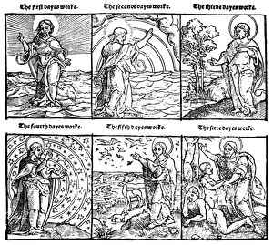 BIBLE: THE CREATION. Woodcut from Miles Coverdale's Bible, 1535, depicting the