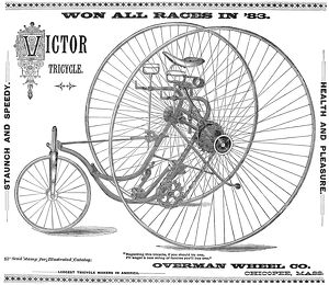 BICYCLE, 1884. Advertisement, American, 1884.