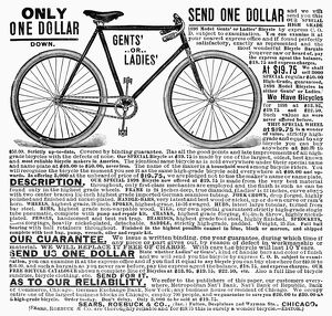 BICYCLE ADVERTISEMENT, 1898. American newspaper advertisement, 1898, for Sears, Roebuck & Co