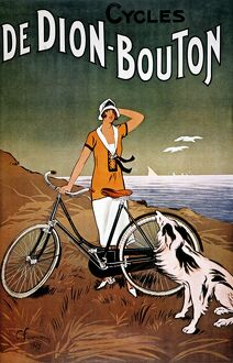 BICYCLE AD, 1925. French lithograph advertising poster for De Dion-Bouton bicycles.