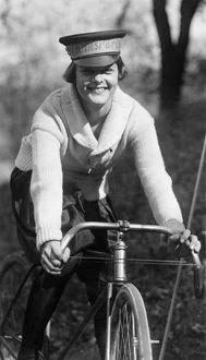 BICYCLE MESSENGER, 1921. Julia Obear, messenger for the National Woman's Party
