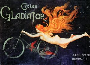 BICYCLE POSTER, c1905. /nFrench advertising poster for Gladiator bicycles, c1905