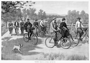 BICYCLE TOURISTS, 1896. A group of bicycle tourists enjoying a ride through the countryside