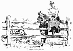 'Is Bicycling Bad For The Heart?' Pen and ink drawing, 1897, by Charles Dana Gibson