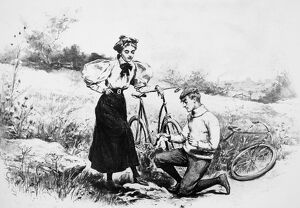 BICYCLING, c1898. American magazine advertisement for Brown's shoe dressing, c1898.