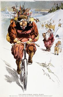 BICYCLING CARTOON, 1895. American magazine cartoon, 1895, satirizing both the feminist movement