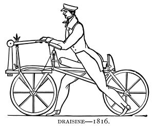 BICYCLING: DRAISINE, 1816. The Draisine, or 'Pedestrian Curricle', devised