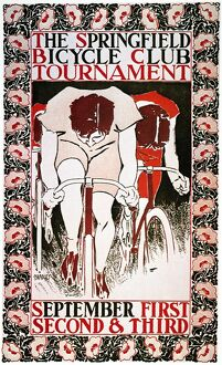 BICYCLING POSTER, 1896. American poster by Will Bradley for a bicycle-club tournament.