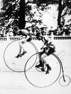 BICYCLING RACE, c1890. High-wheelers racing. Photograph, c1890.