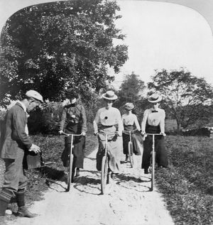 BICYCLING. Stereograph, 1902.