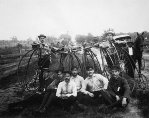 BICYLE RIDERS, c1880s. A group of Florida bicycle riders posing with their high-wheelers