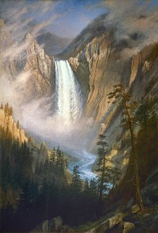 BIERSTADT: YELLOWSTONE. 'Yellowstone Falls.' Oil on canvas by Albert Bierstadt