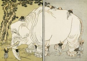 'The Blind Men and the Elephant.' Japanese woodblock print from the 'Manga&#39