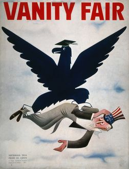 The blue eagle of the N.R.A. rescuing Uncle Sam from the Great Depression. American magazine cover