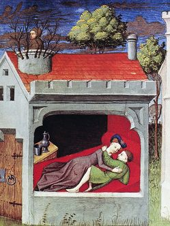 BOCCACCIO: LOVERS, c1430. The daughter of Tancredi, Prince of Salerno, with her lover