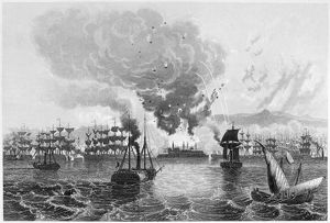 BOMBARDMENT OF ACRE, 1840. Bombardment of Acre, Palestine, by British, Austrian