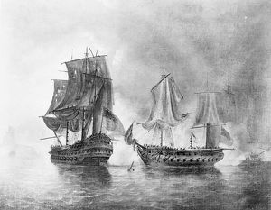 BONHOMME RICHARD, 1779. The engagement between USS Bonhomme Richard and HMS Serapis