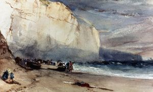 BONINGTON: CLIFF, 1828. At the Foot of the Cliff