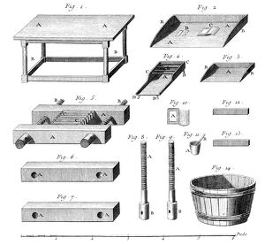 BOOKBINDING, 18TH CENTURY. Bookbinding tools and press