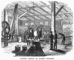 BOSTON: FOUNDRY, 1855. Casting cannon parts at Cyrus Alger's iron foundry in Boston