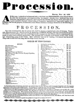 presidents/boston procession 1789 announcement 19 october