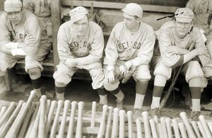 BOSTON RED SOX, 1916. Baseball players for the Boston Red Sox seated on a bench, 1916