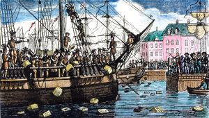 The Boston Tea Party, 16 December 1773. Wood engraving, c1850