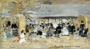 BOUDIN: BEACH, 1888-95. 'Beach at Trouville.' Oil on canvas by Eugène Boudin