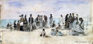 BOUDIN: BEACH SCENE, 1869. Pencil and watercolor sketch by Eugène Boudin, 1869