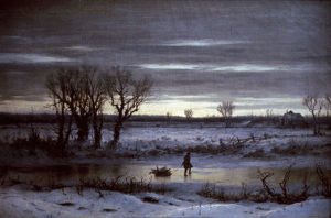 BOUGHTON: WINTER TWILIGHT. George H. Boughton: Winter Twilight near Albany. Oil on canvas.