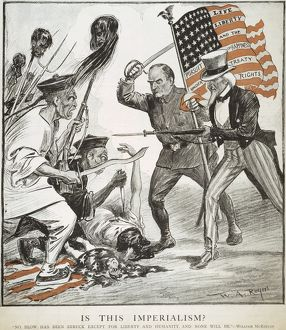 BOXER REBELLION CARTOON. American cartoon comment, 1900, on American participation