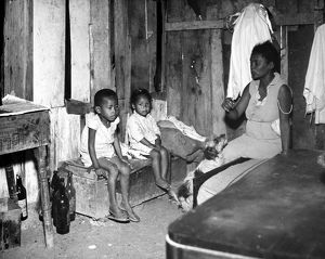 BRAZIL: FAVELA, 1955. The interior of a 'favela' (slum dwelling) in a suburb